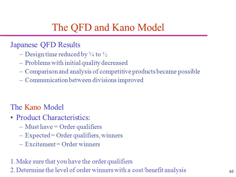 The QFD and Kano Model Japanese QFD Results The Kano Model