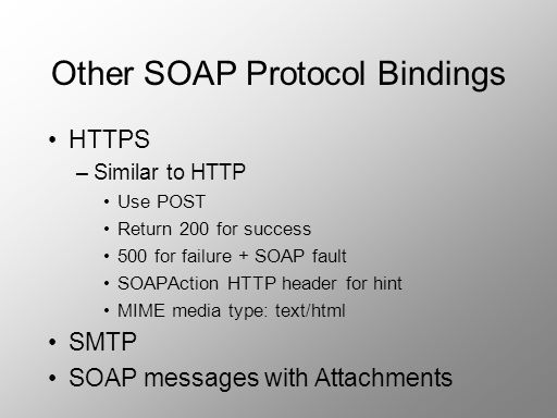Other SOAP Protocol Bindings