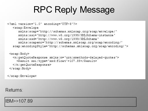 RPC Reply Message Returns: IBM>>107.89