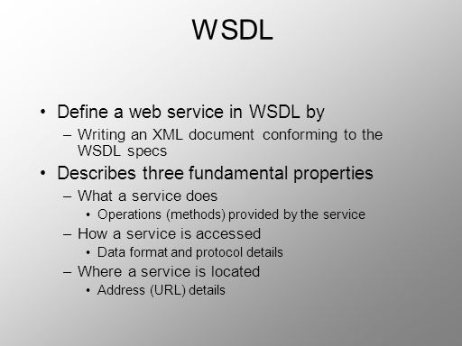 WSDL Define a web service in WSDL by