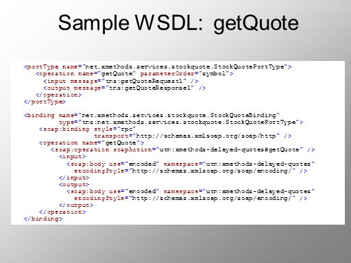 Sample WSDL: getQuote <portType name= net.xmethods.services.stockquote.StockQuotePortType > <operation name= getQuote parameterOrder= symbol >