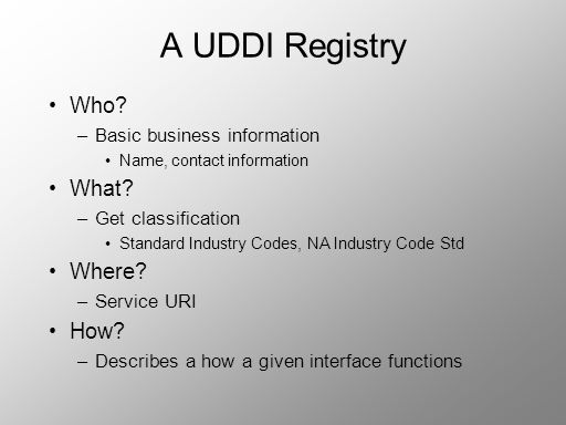 A UDDI Registry Who What Where How Basic business information