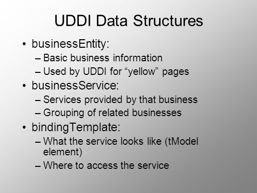 UDDI Data Structures businessEntity: businessService: bindingTemplate: