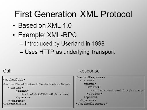 First Generation XML Protocol