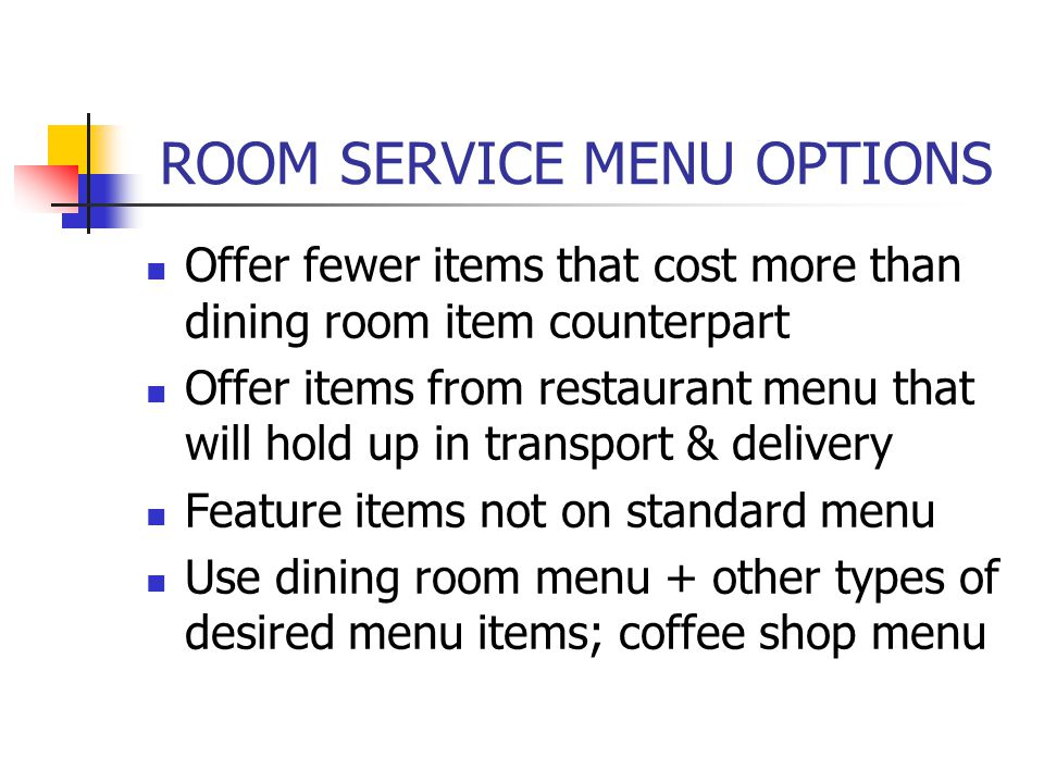 ROOM SERVICE MENU OPTIONS