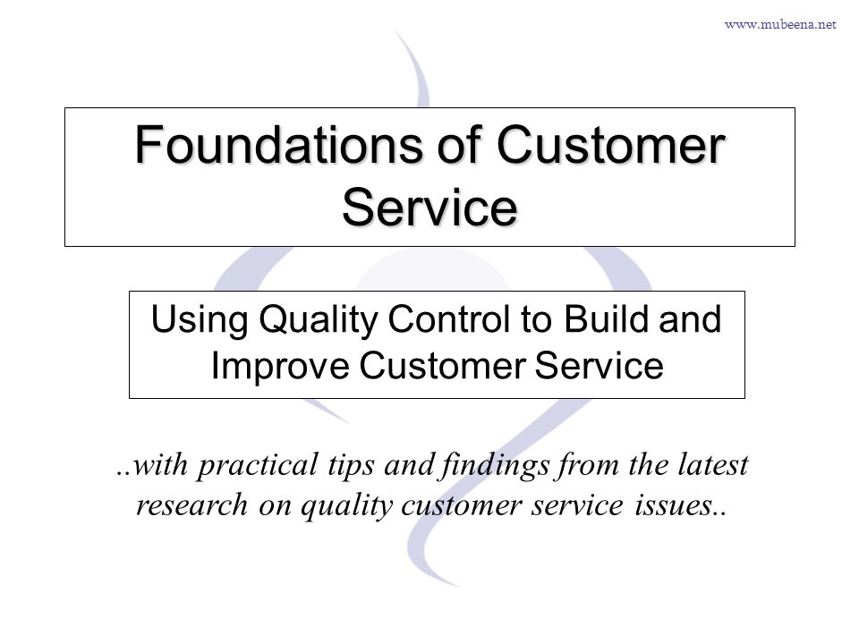 Foundations of Customer Service