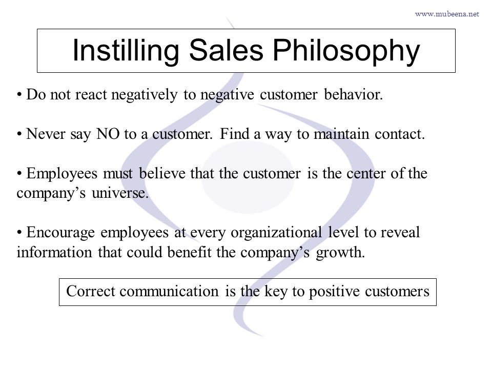 Instilling Sales Philosophy