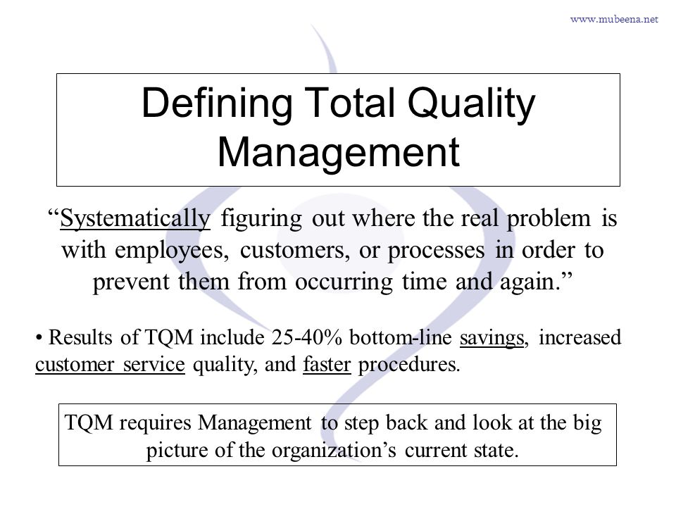 Defining Total Quality Management