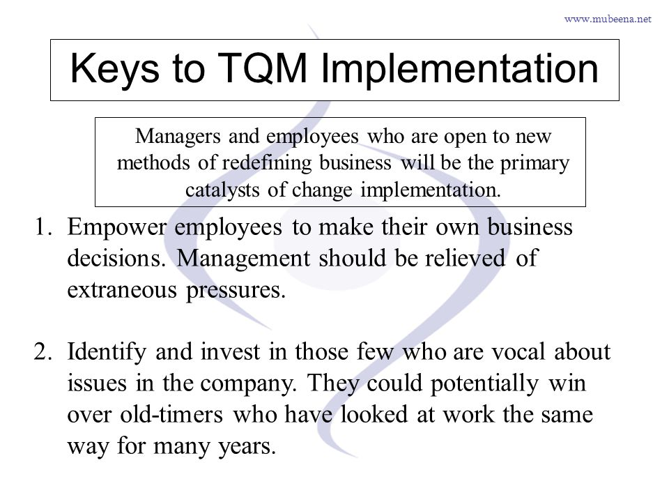 Keys to TQM Implementation