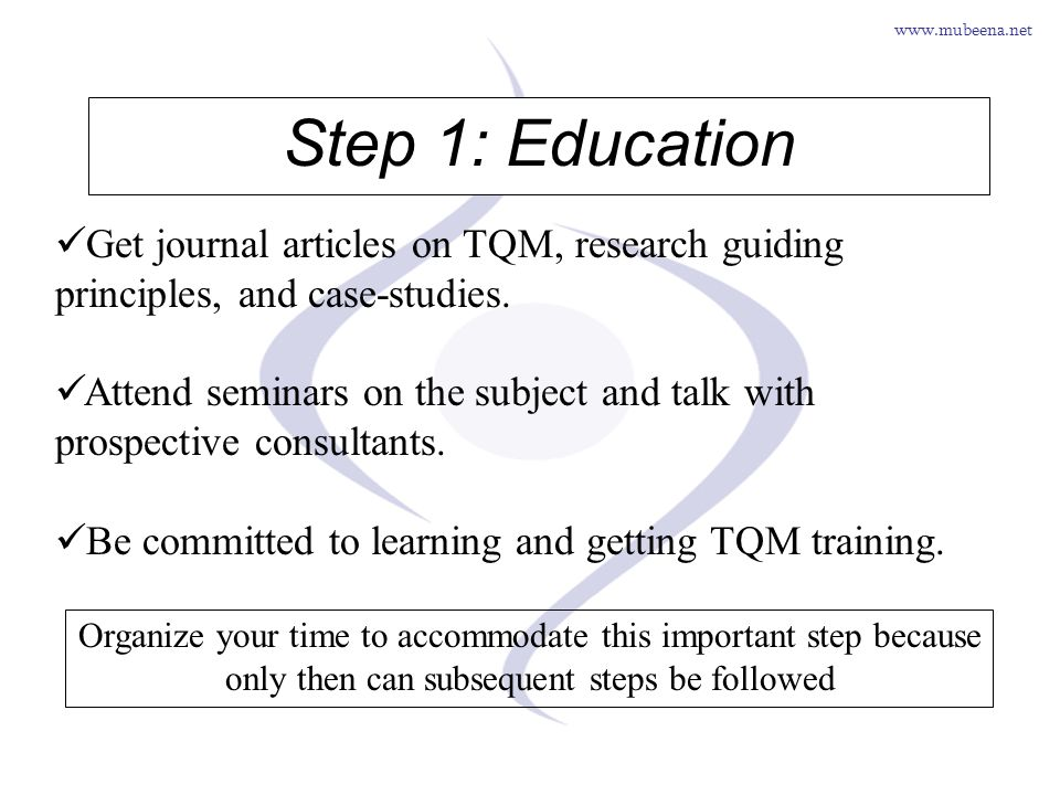 Step 1: Education Get journal articles on TQM, research guiding principles, and case-studies.