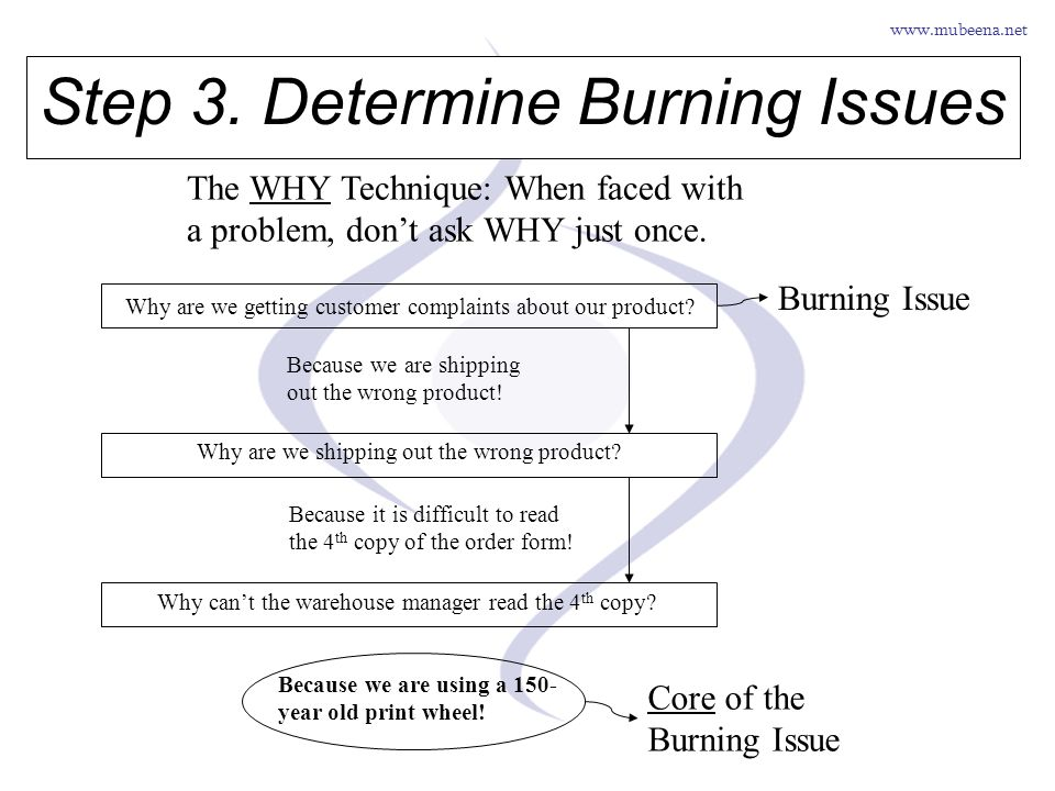 Step 3. Determine Burning Issues