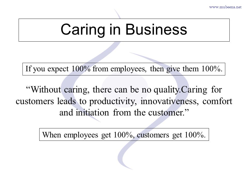 Caring in Business If you expect 100% from employees, then give them 100%.
