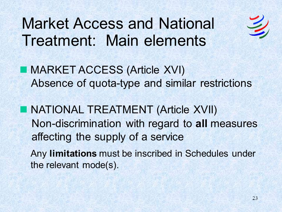 Market Access and National Treatment: Main elements