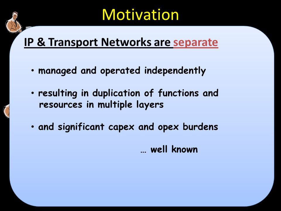 Motivation IP & Transport Networks are separate