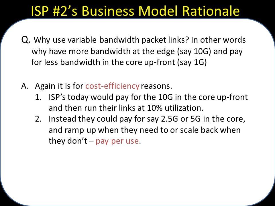 ISP #2's Business Model Rationale