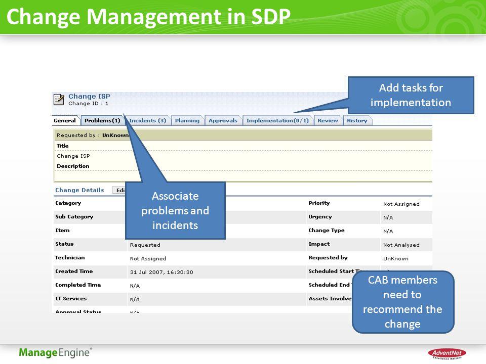 Change Management in SDP