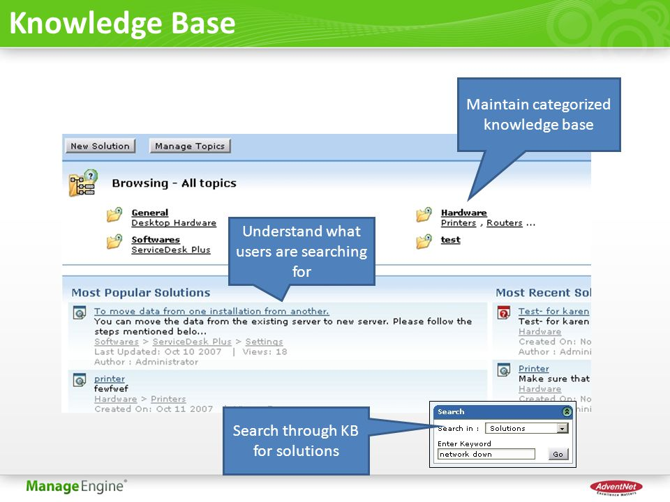 Knowledge Base Maintain categorized knowledge base