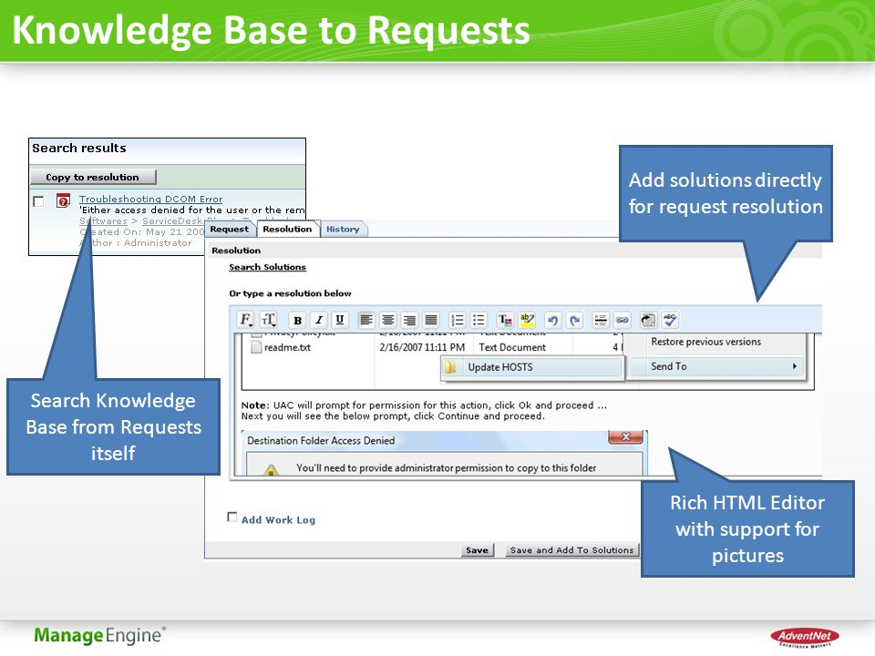 Knowledge Base to Requests