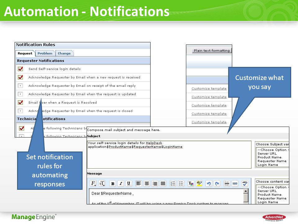Set notification rules for automating responses