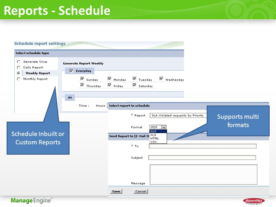 Reports - Schedule Supports multi formats
