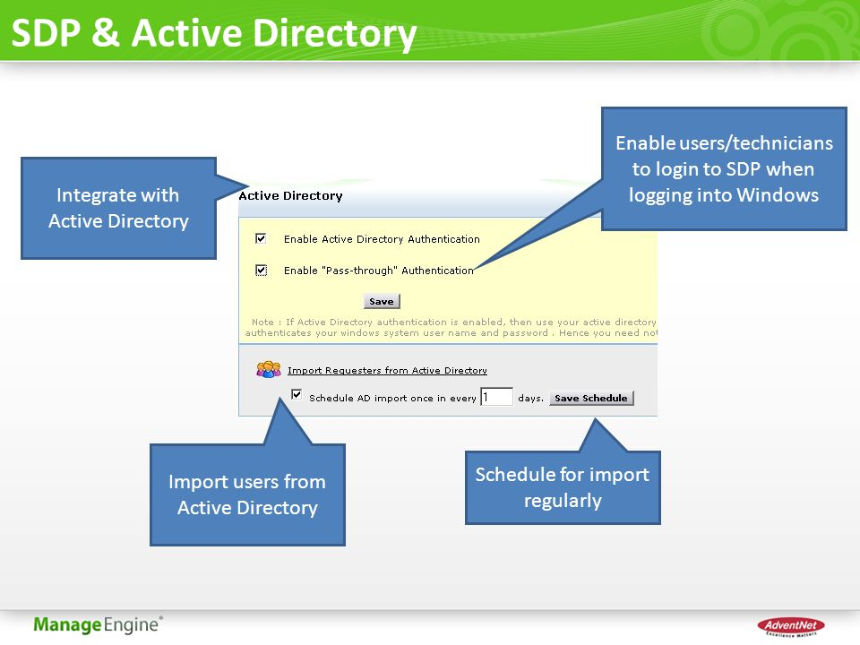 SDP & Active Directory Enable users/technicians to login to SDP when logging into Windows. Integrate with Active Directory.