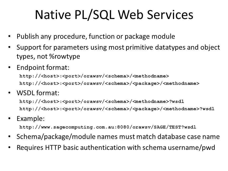 Native PL/SQL Web Services