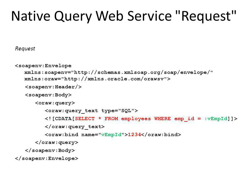 Native Query Web Service Request