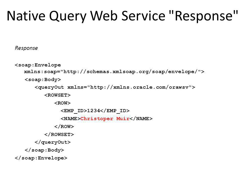 Native Query Web Service Response