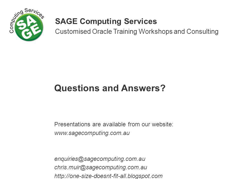 Questions and Answers SAGE Computing Services