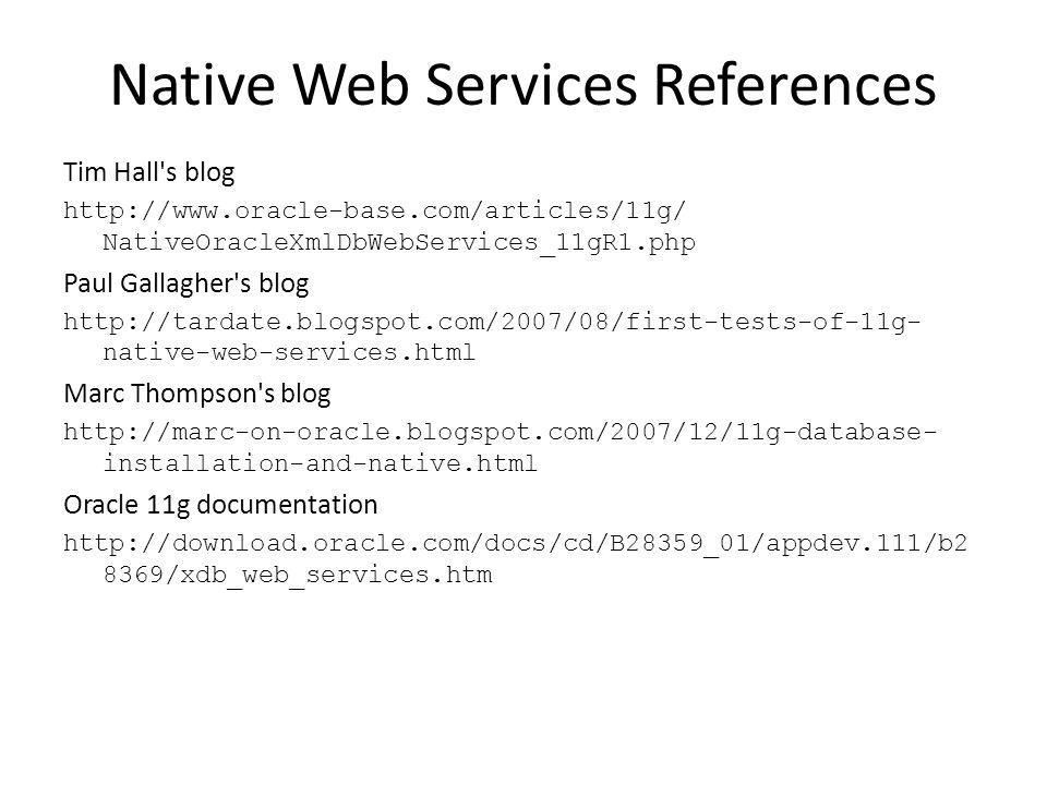 Native Web Services References
