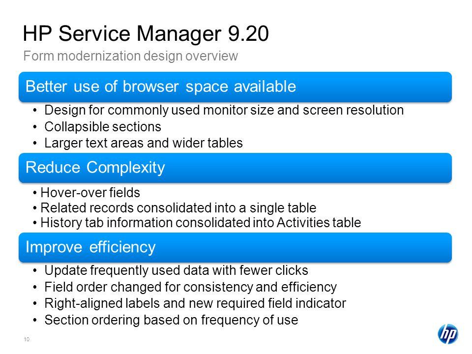 HP Service Manager 9.20 Form modernization design overview