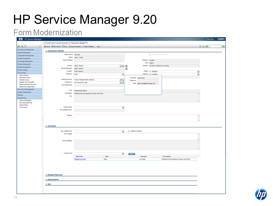 HP Service Manager 9.20 Form Modernization HP Confidential