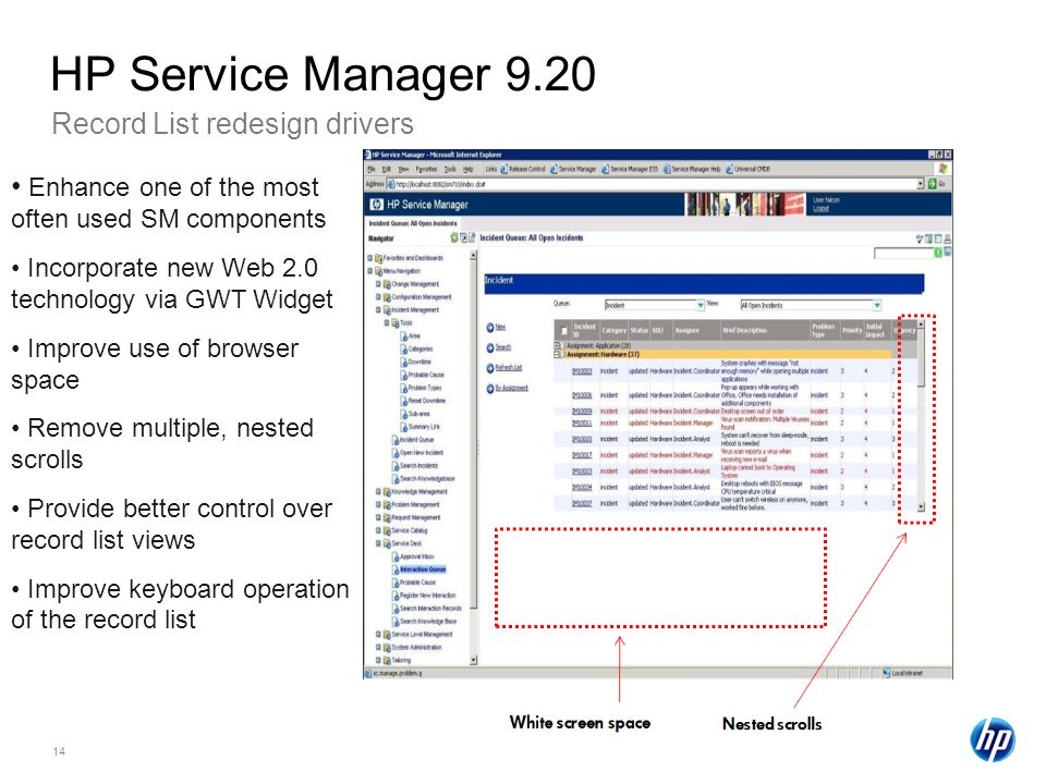 HP Service Manager 9.20 Record List redesign drivers