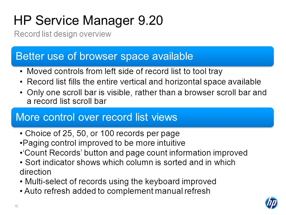 HP Service Manager 9.20 Record list design overview