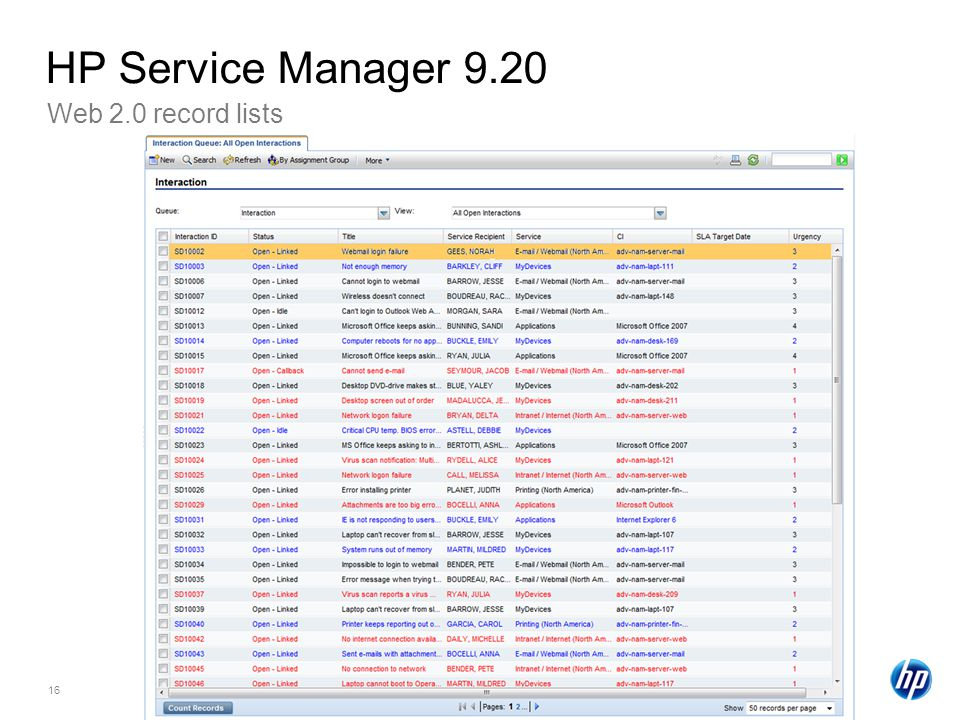 HP Service Manager 9.20 Web 2.0 record lists HP Confidential