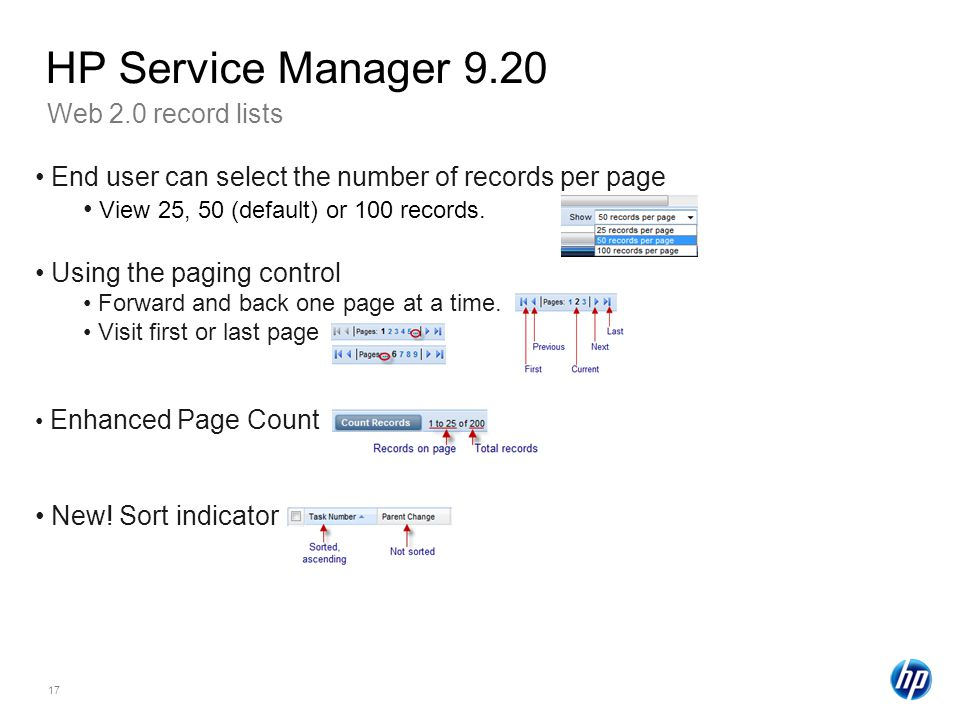 HP Service Manager 9.20 Web 2.0 record lists