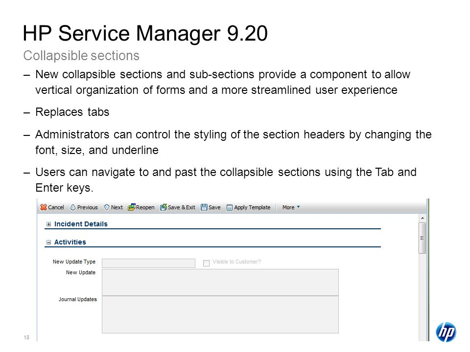 HP Service Manager 9.20 Collapsible sections