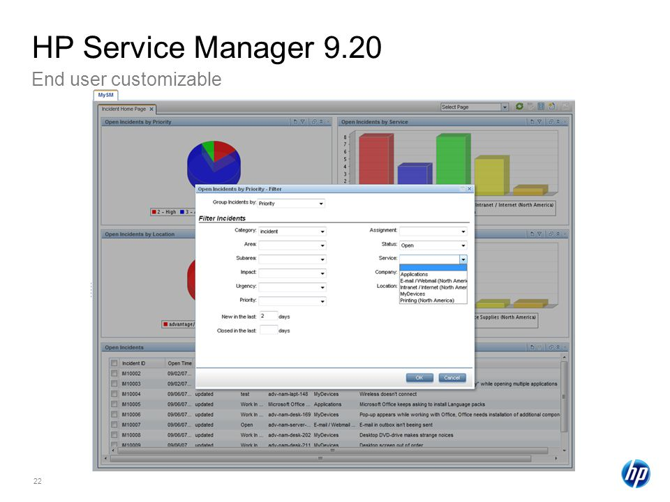 HP Service Manager 9.20 End user customizable How to filter charts