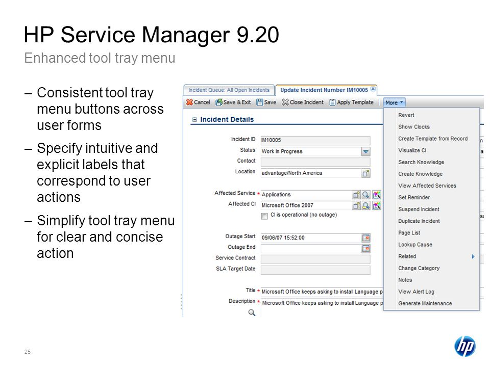 HP Service Manager 9.20 Enhanced tool tray menu