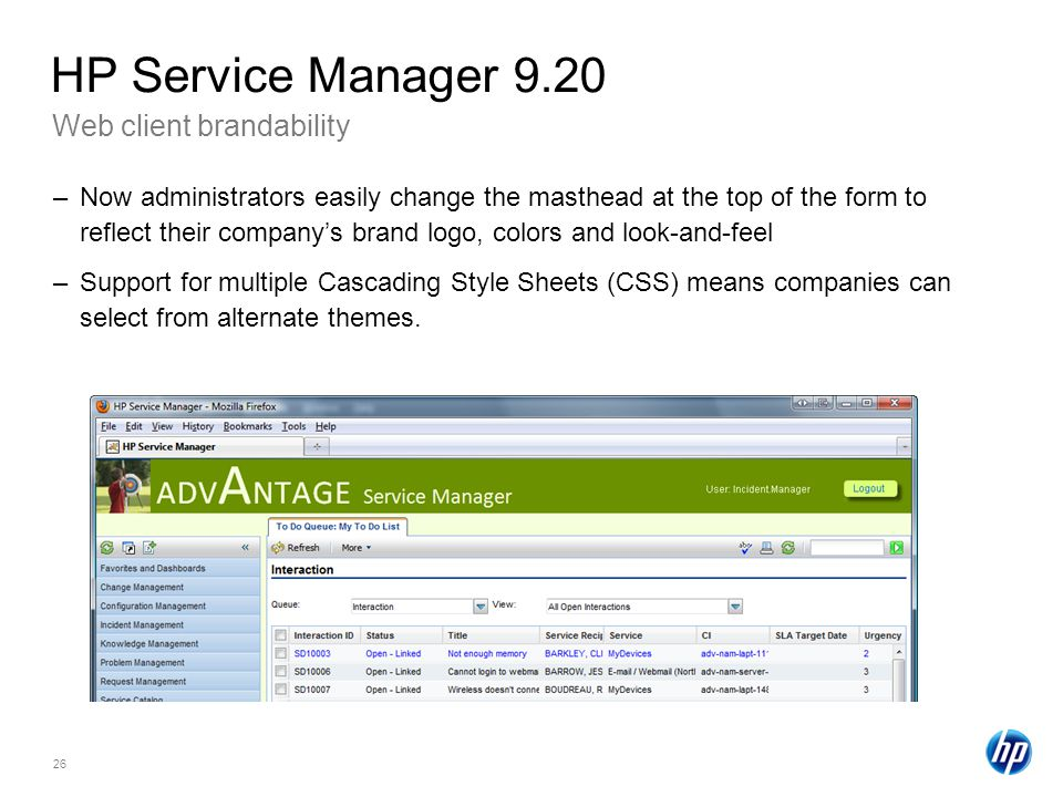 HP Service Manager 9.20 Web client brandability