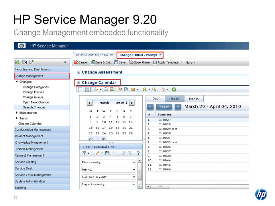 HP Service Manager 9.20 Change Management embedded functionality