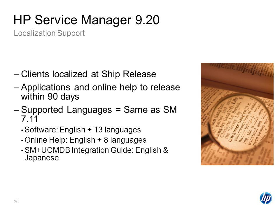 HP Service Manager 9.20 Clients localized at Ship Release