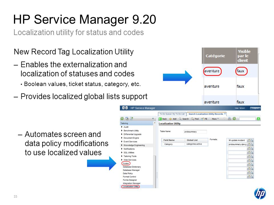 HP Service Manager 9.20 Localization utility for status and codes