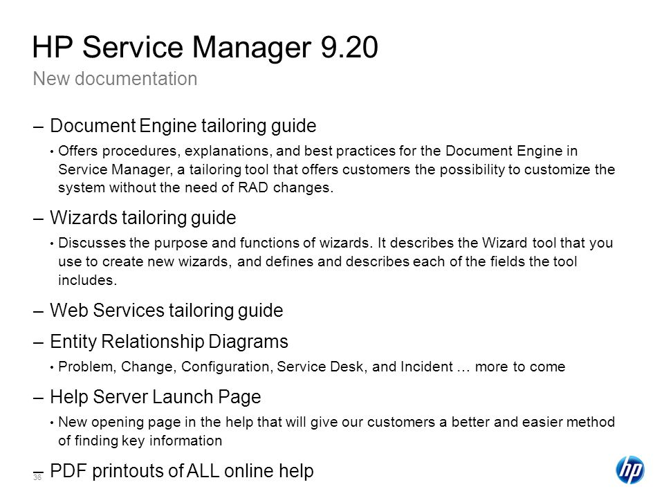 HP Service Manager 9.20 New documentation