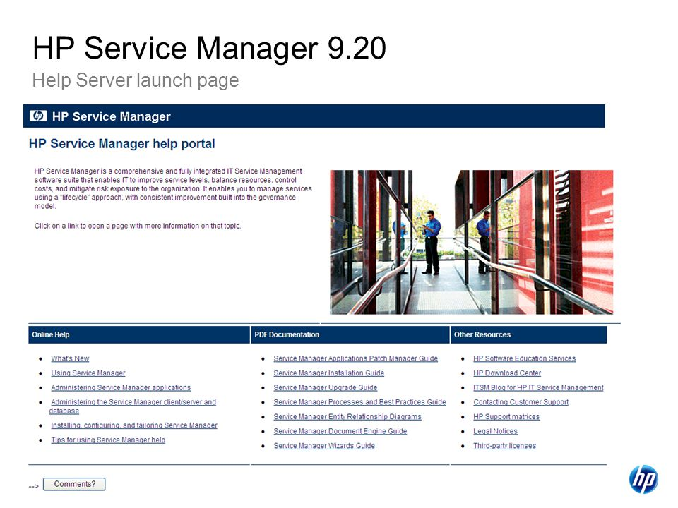 HP Service Manager 9.20 Help Server launch page