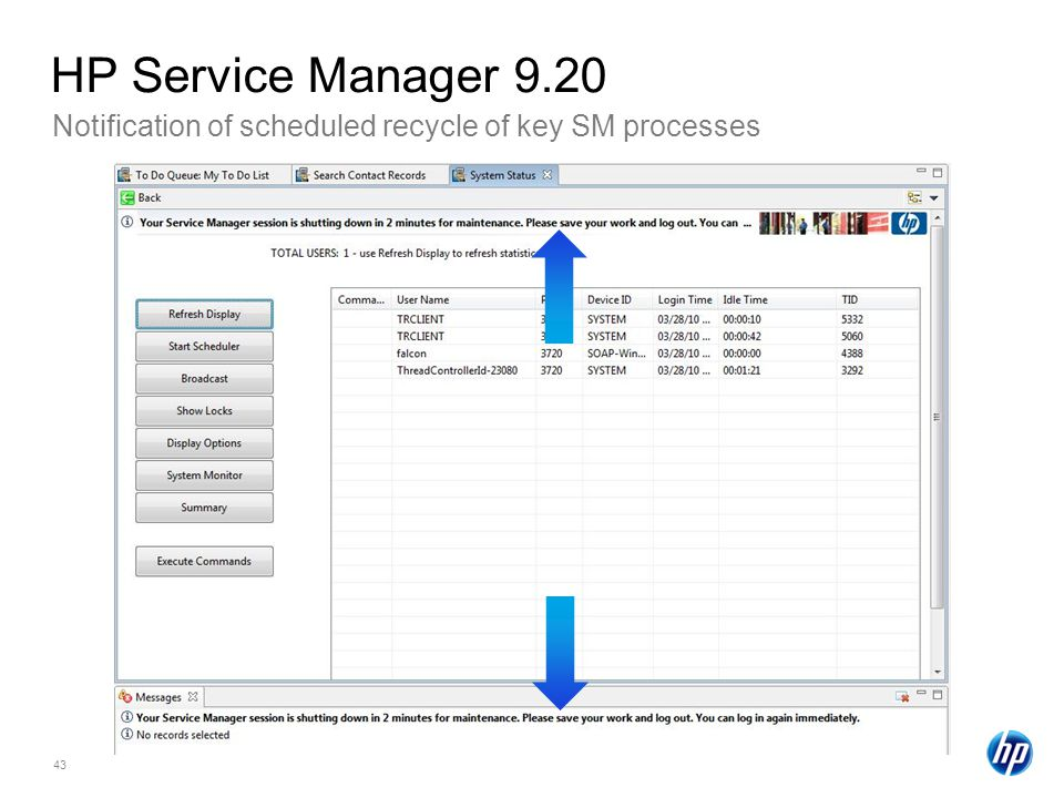 HP Service Manager 9.20 Notification of scheduled recycle of key SM processes