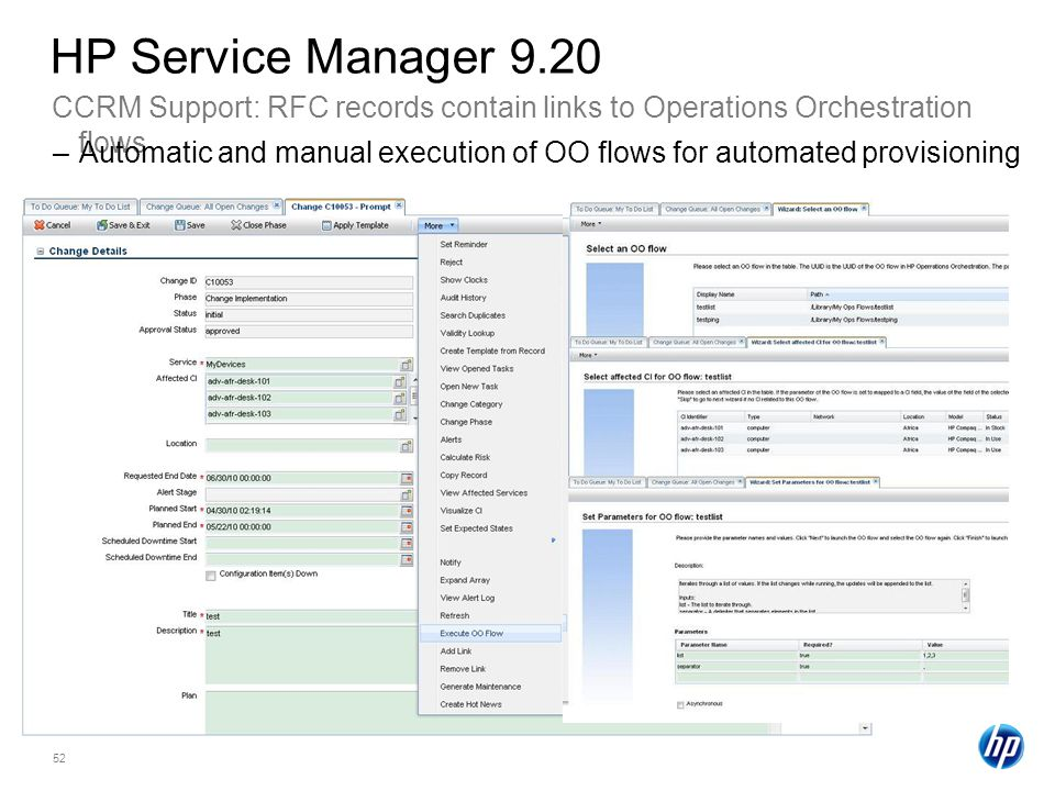 HP Service Manager 9.20 CCRM Support: RFC records contain links to Operations Orchestration flows.
