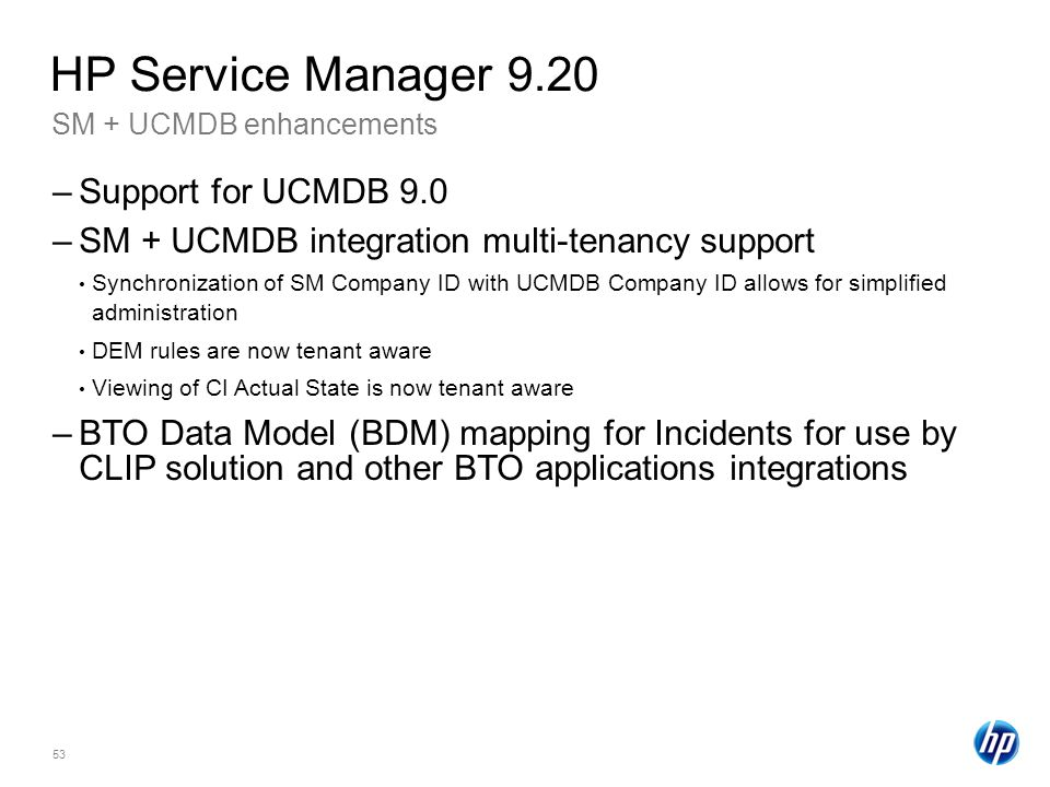 HP Service Manager 9.20 Support for UCMDB 9.0
