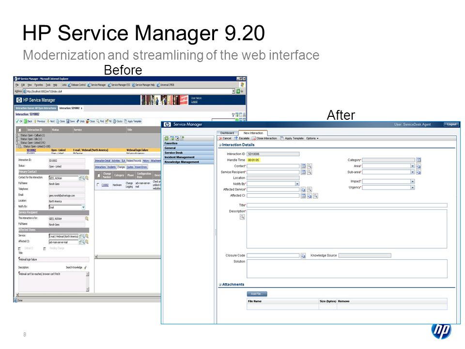 HP Service Manager 9.20 Modernization and streamlining of the web interface. Before. After.