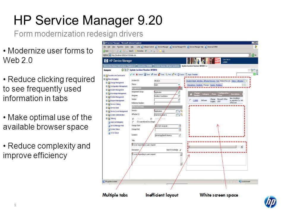 HP Service Manager 9.20 Form modernization redesign drivers
